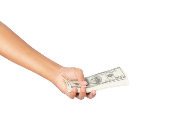 Mão segurando dinheiro, dólares americanos isolados no fundo branco