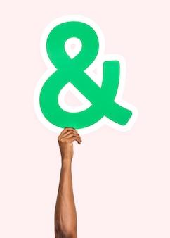 Mão, segurando, e comercial, símbolo