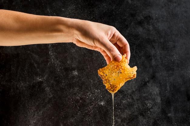 Mão segurando favo de mel