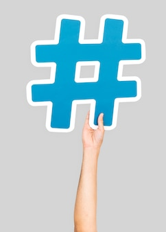Mão, segurando, hashtag, símbolo