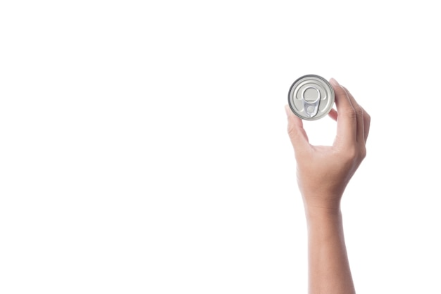 Mão, segurando, lata, ou, lata aço, feito, de, alumínio, para, alimento