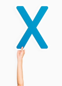 Mão, segurando, letra, x