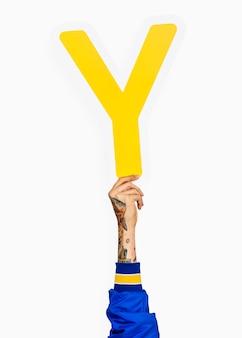 Mão, segurando, letra y, sinal
