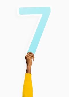 Mão, segurando, numere número, sinal