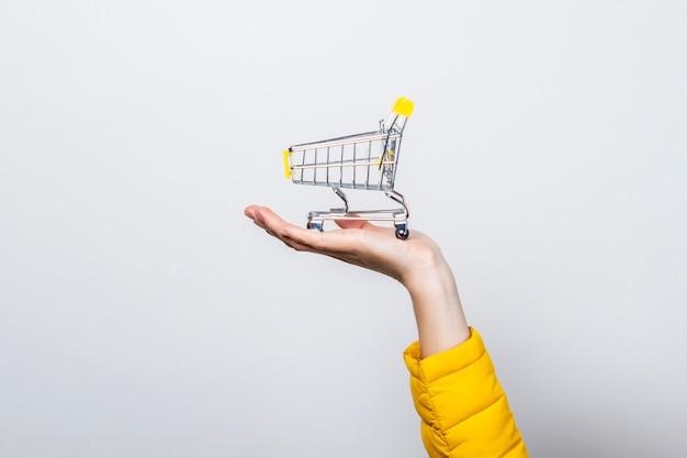 Mão segurando o carrinho de compras em uma luz