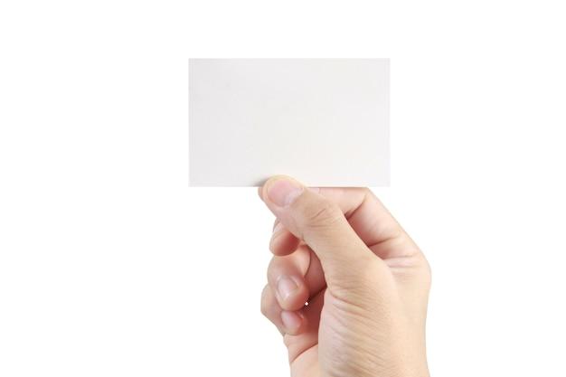 Mão segurando o cartão de visita em branco branco
