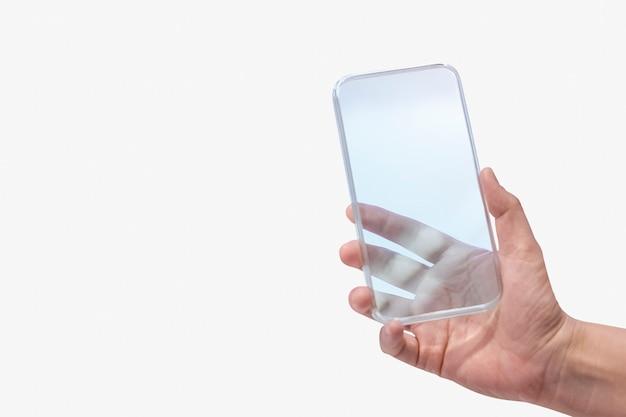 Mão segurando o conceito de tecnologia futurista de smartphone transparente