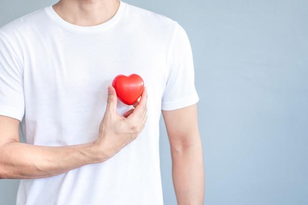 Mão segurando o coração vermelho em t-shirt branca, conceito de amor e cuidados de saúde.