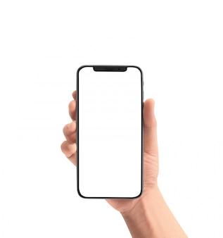 Mão segurando o dispositivo de smartphone