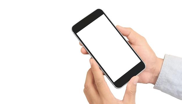 Mão segurando o dispositivo smartphone e tocando a tela