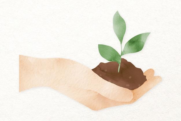 Mão segurando o elemento de design da planta
