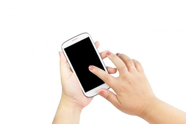 Mão segurando o grande telefone inteligente touchscreen isolado no fundo branco com traçado de recorte para a tela