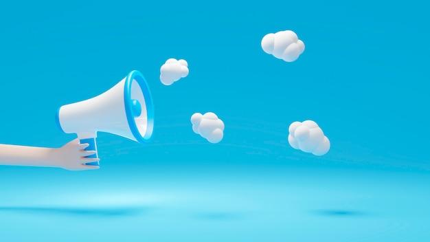 Mão segurando o megafone azul com balão, renderização 3d em fundo azul