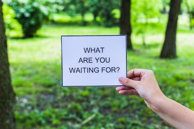 Mão segurando o que você está esperando por cartão no parque