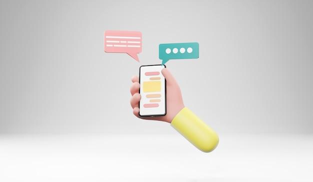 Mão segurando o smartphone com conversa de bolha. ilustração 3d
