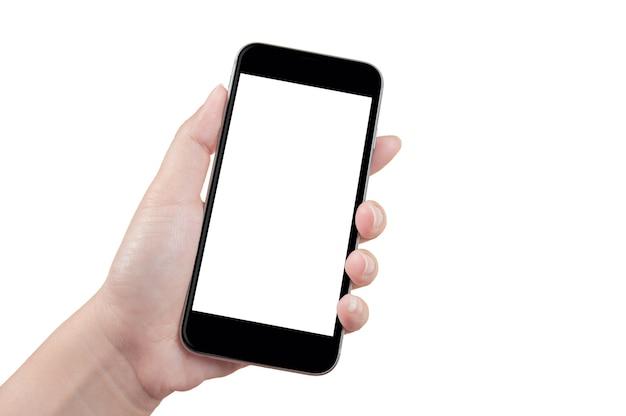 Mão segurando o telefone com a tela em branco.