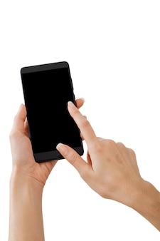 Mão segurando o telefone inteligente de maquete
