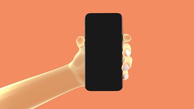 Mão segurando o telefone, isolado no fundo. ilustração 3d. conjunto de conceito de maquete de mídia social, app, mensagens e comentários.