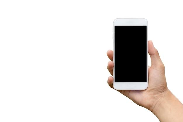 Mão segurando o telefone preto recorte dentro isolado no fundo branco.