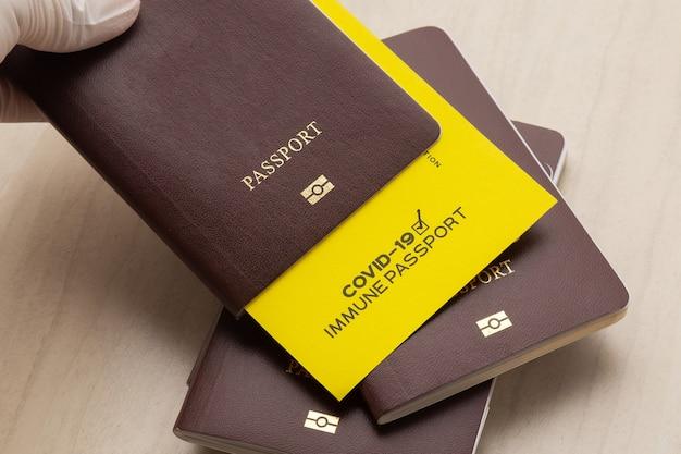 Mão segurando passaportes de vacina como prova de que o titular foi vacinado contra covid-19