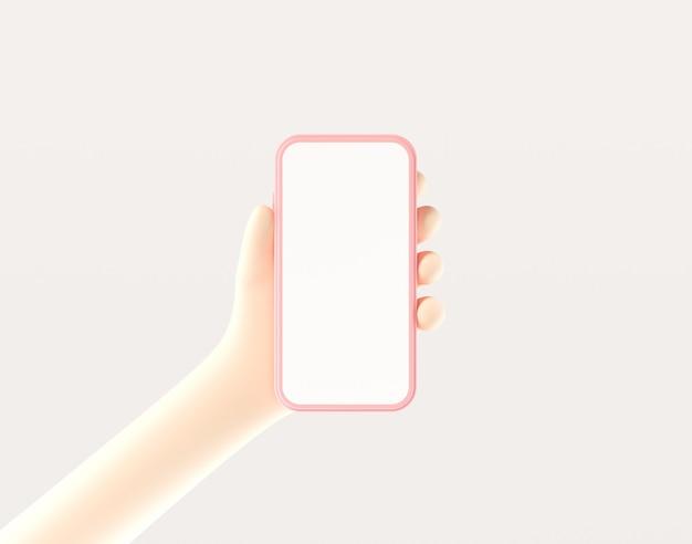 Mão segurando smartphone com tela vazia