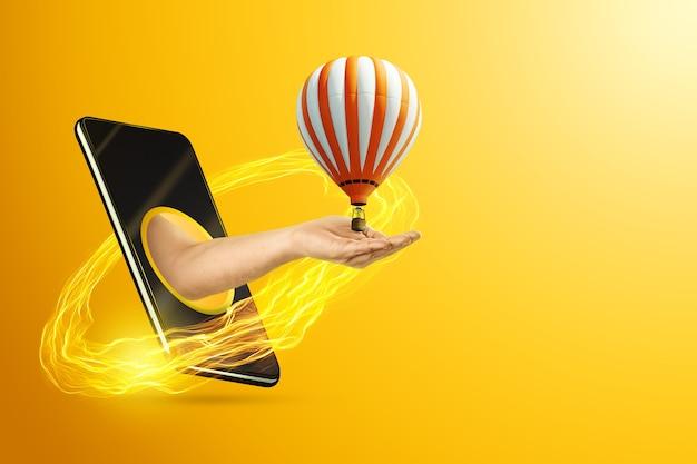 Mão segurando um balão de ar quente em um smartphone