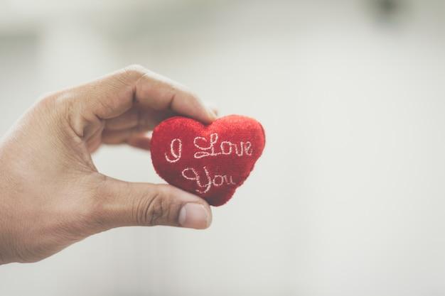 Mão segurando um coração verde vermelho que eu te amo