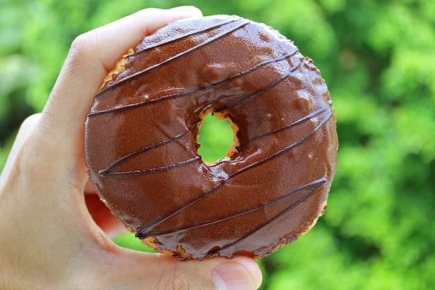 Mão segurando um donut revestido de chocolate contra folhagem verde vibrante embaçada