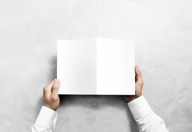 Mão segurando um folheto branco em branco, vista traseira