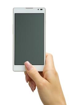 Mão segurando um grande smartphone com tela sensível ao toque
