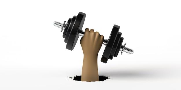 Mão segurando um haltere treino esporte e condicionamento físico após o trabalho exercício na academia