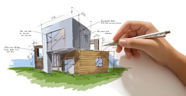 Mão segurando um lápis trabalhando em um rascunho de projeto de casa