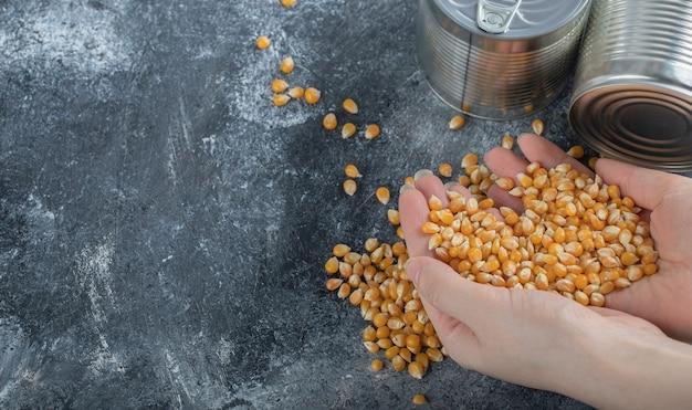 Mão segurando um monte de sementes de pipoca crus no mármore.