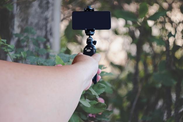 Mão segurando um telefone móvel em um tripé no fundo da natureza.