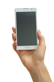 Mão segurando um telefone móvel inteligente com tela em branco