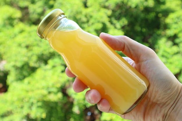 Mão segurando uma garrafa de suco de laranja com folhagem verde atrás