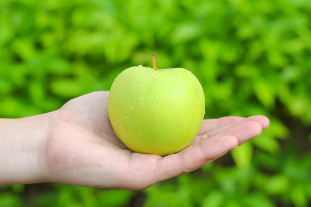 Mão segurando uma maçã