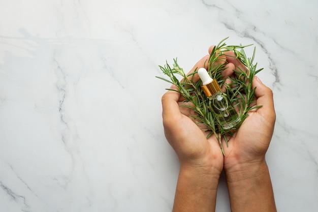 Mão segurando uma planta fresca de alecrim e uma garrafa de óleo de alecrim