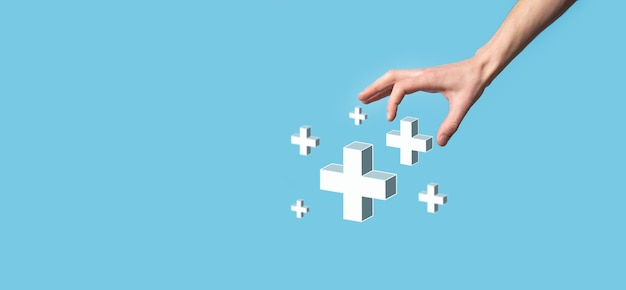 Mão segure 3d mais ícone, homem segure na mão ofereça coisas positivas, como lucro, benefícios, desenvolvimento, csr representado pelo sinal de mais. a mão mostra o sinal de mais.