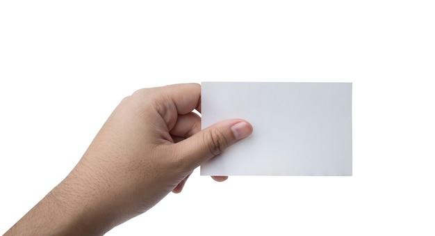 Mão segure cartão de visita virtual ou papel em branco isolado no branco