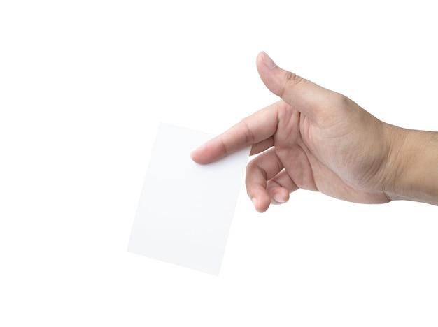 Mão segure cartão de visita virtual ou papel em branco isolado no fundo branco