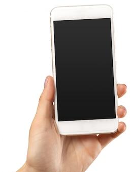 Mão segure smartphone móvel isolado no branco
