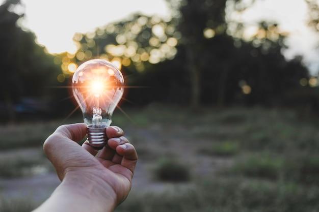 Mão segure uma lâmpada