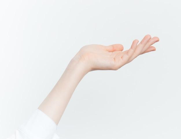 Mão sinais fundo branco
