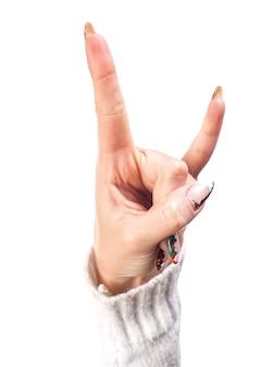 Mão - sinal de vitória isolado no fundo branco