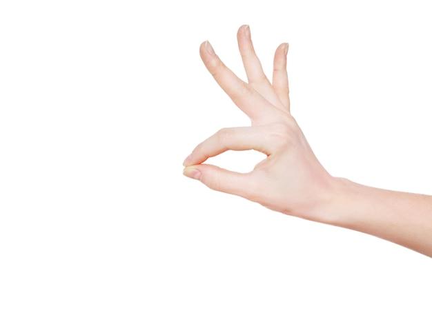 Mão sobre um fundo branco