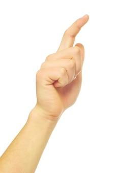 Mão tocando a tela isolada em um branco