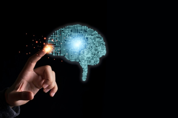 Mão tocando ilustração cérebro criatividade circuito eletrônico. é inteligência artificial e conceito de tecnologia de ia.