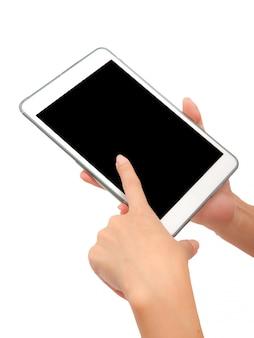 Mão usando o tablet pc em branco isolado