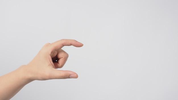 Mão vazia, fazendo escolher ou segurar o gesto no fundo branco.